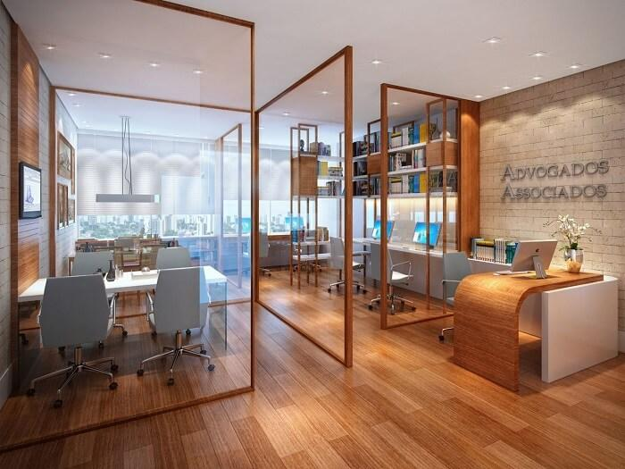Office with glass and wood partitions