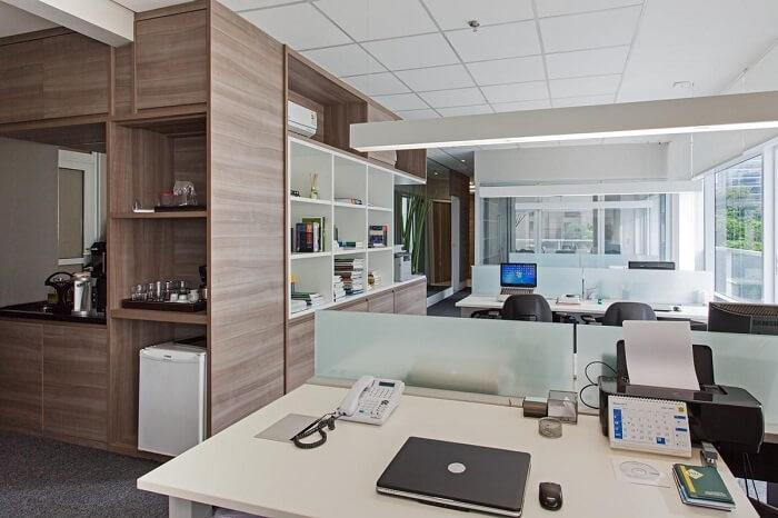 Office with wooden details and no partitions